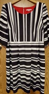 Studio One striped dress w/ 3/4 bell sleeves